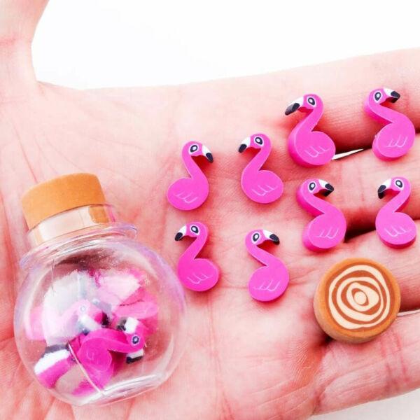 Mini Flamingó Radírok Üvegcsében
